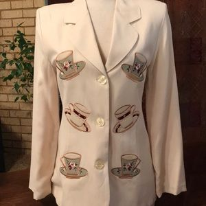 Vintage blazer with coffee cup/teacup theme